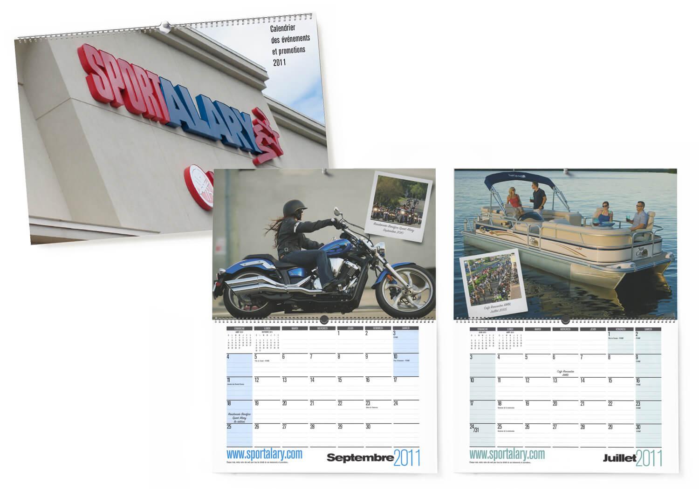 Calendrier promotionnel pour les activités et ventes du concessionnaire Alary Sport