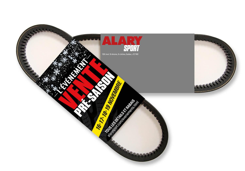 Feuillet publicitaire en forme d'emballage de courroie de motoneige pour la promotion de la vente pré-saison chez Alary Sport.