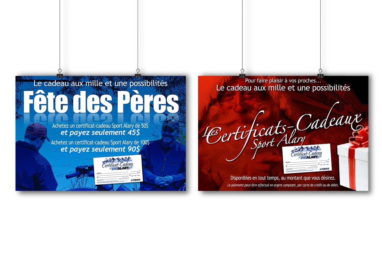 Affiches pour différents événements annonçant les certificat-cadeaux du concessionnaire Alary Sport