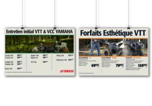 Affiches PLV de Alary Sport pour le département du service et ses programmes d'entretien des VTT Polaris.