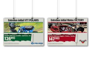 Série d'affiches PLV de Alary Sport pour le département du service et ses programmes d'entretien initial des produits Polaris
