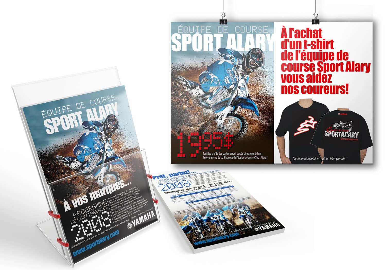 Affiche pour la campagne promotionnelle pour le recrutement des coureurs pour l'équipe de course de motocross de Alary Sport.