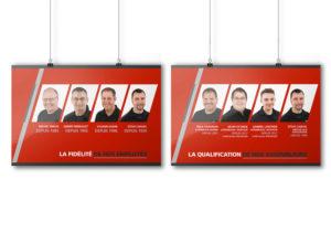 Série d'affiches PLV pour la présentation des employés du département du service chez Alary Sport.