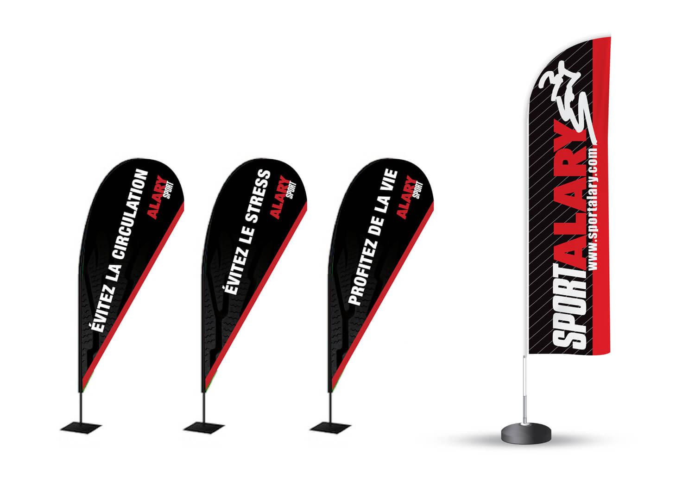 Drapeaux (Flag) publicitaires pour salon d'exposition et PLV de Alary Sport.