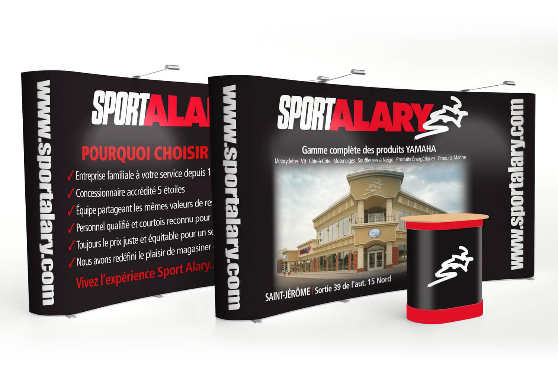Kiosque d'exposition Alary Sport pour les salons d'exposition.