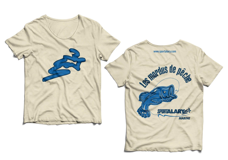 Design des chandails «Les Mordus de Pêche», cadeau promotionnel pour les clients des embarcations de pêche - Alary Sport.