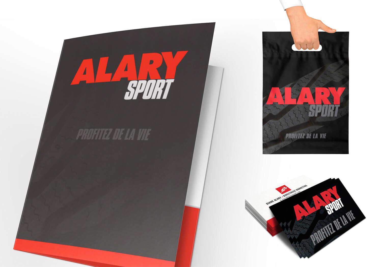 Sac, pochette de presse et carte professionelle de Alary Sport.