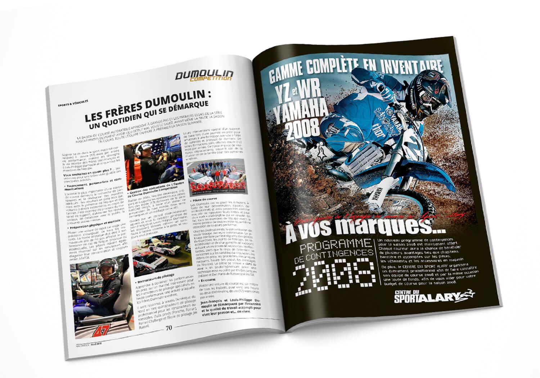 Publicité pour l'équipe de course Alary Sport dans différents magasines.