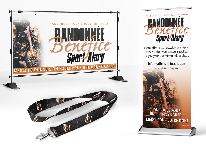 Affiche, bannière et lannière pour la randonnée bénéfice pour Sport Alary.