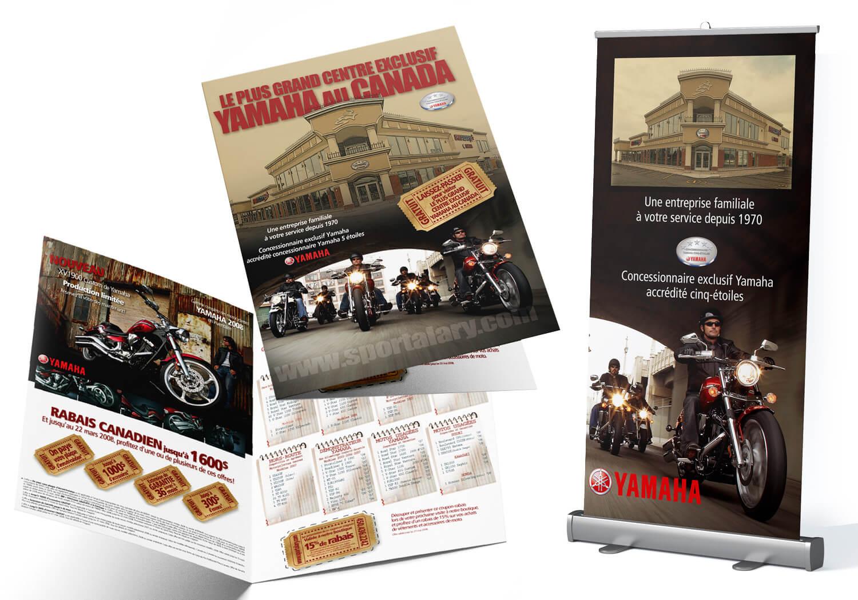 Brochure et bannière pour le salon de la moto de Montréal pour Alary Sport.