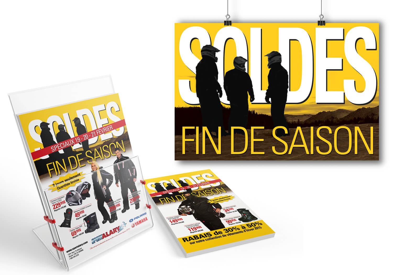 Campagne publicitaire pour la vente «Soldes fin de saison» de Alary Sport.