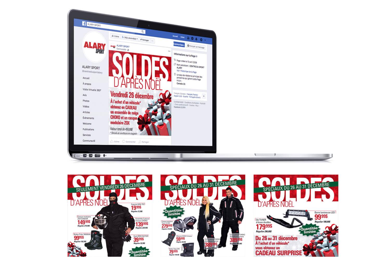 Campagne publicitaire pour Facebook la vente «Soldes d'après Noël» de Alary Sport.