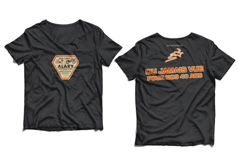 Design des chandails «Du Jamais Vue pour nos 40 Ans» de Alary Sport