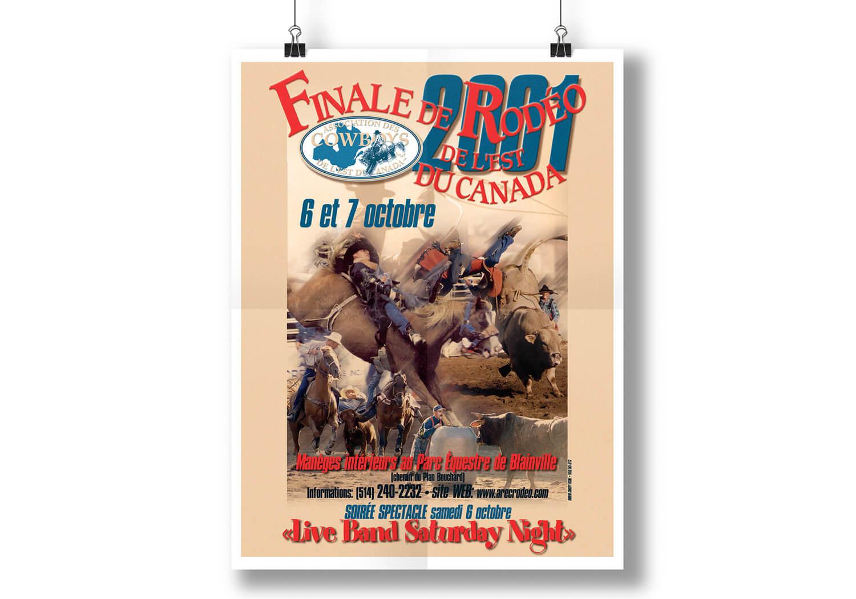 Affiche annoncant un rodéo par L'Association des Cowboys de l'est du Canada.