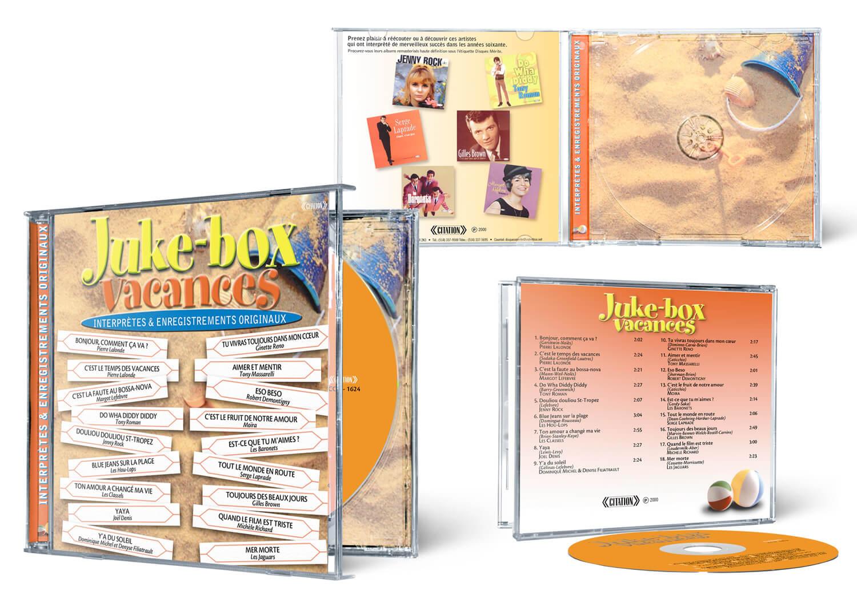 Création du design des emballages du CD Juke box vacances de Disque Mérite