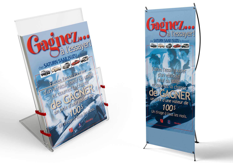 Bannière et feuillet de la promotion «Gagnez... à l'essayer!» du groupe Gravel.