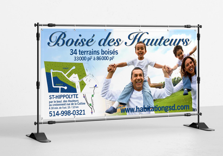 Bannière du projet domiciliaire Le Boisé des Hauteurs.