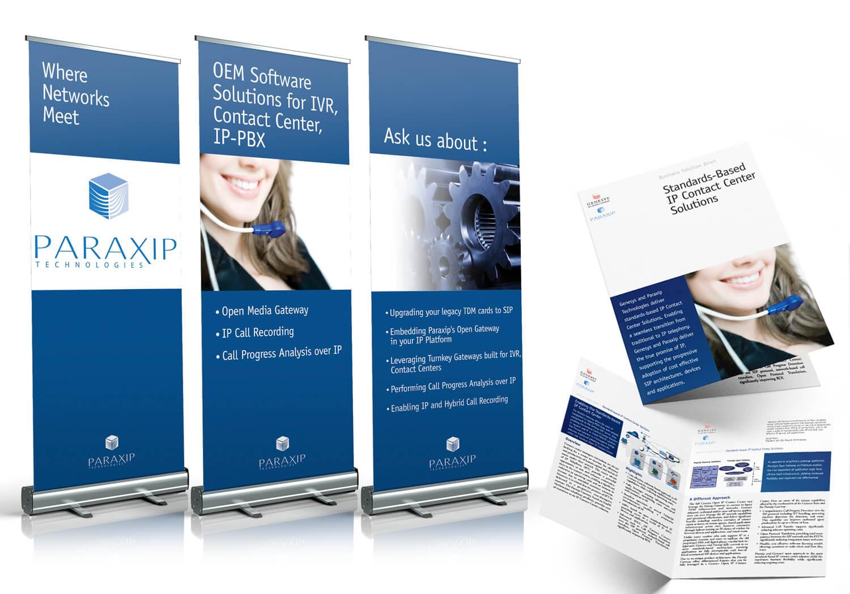 Bannières promotionnelles et dépliants pour Paraxip Technologies