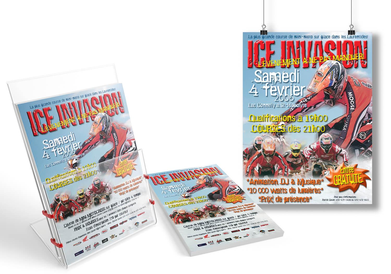 Affiche et feuillet publicitaire pour l'événement Ice Evasion