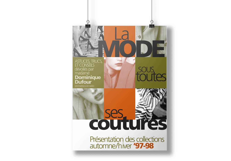 Affiche publicitaire pour un déilé de mode à la Place Rosmère