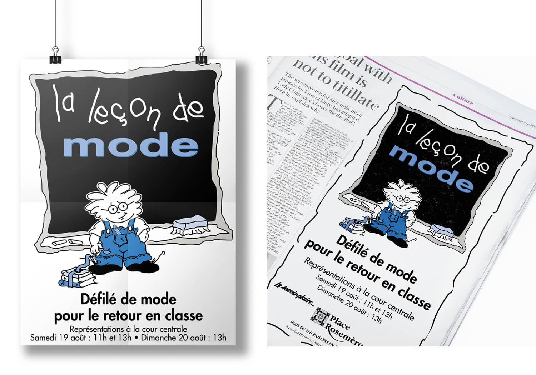 Publicité La Leçon de Mode pour affiche et annonce journal pour la Place Rosemère