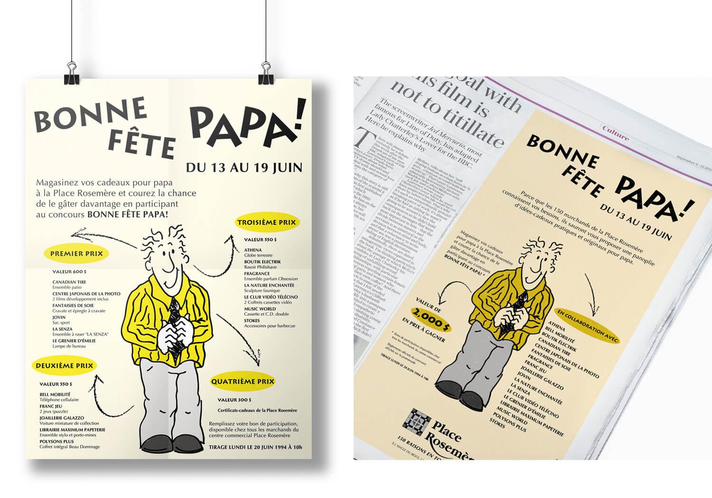 Publicité journal et affiche pour la fête des pères à la Place Rosemère
