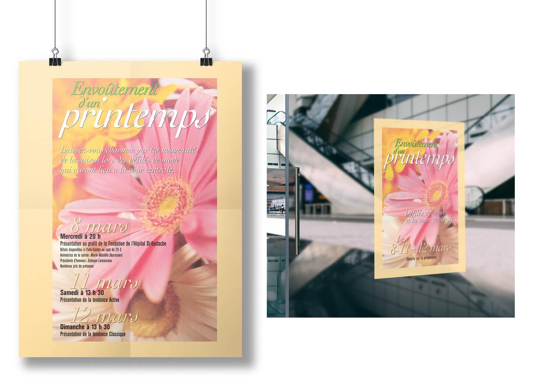 Affiche et autocllant pour la publcitié printanière pour la Place Rosemère