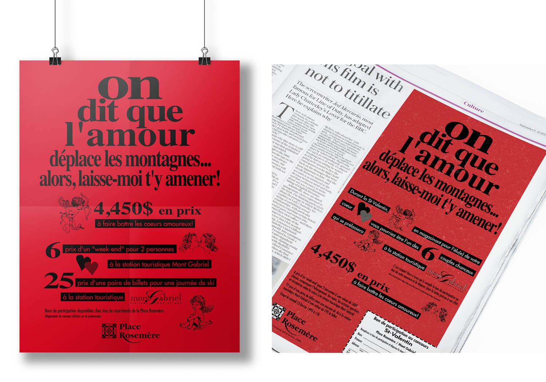 Publicitié affiche et journal pour la St-Valent à la Place Rosemère