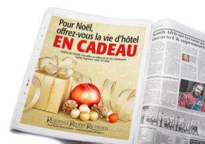 Publicité pour la promotion «Offrez-vous la vie d'hôtel...» pour la Résidence Rivière Richelieu de St-Jean-sur-le-Richelieu, maison de retraite pour personnes aînées.