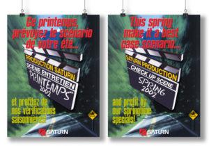 Affiche publicitaire «Ce printemps, prévoyez le scénario de votre été...» par le groupe Saturn Québec
