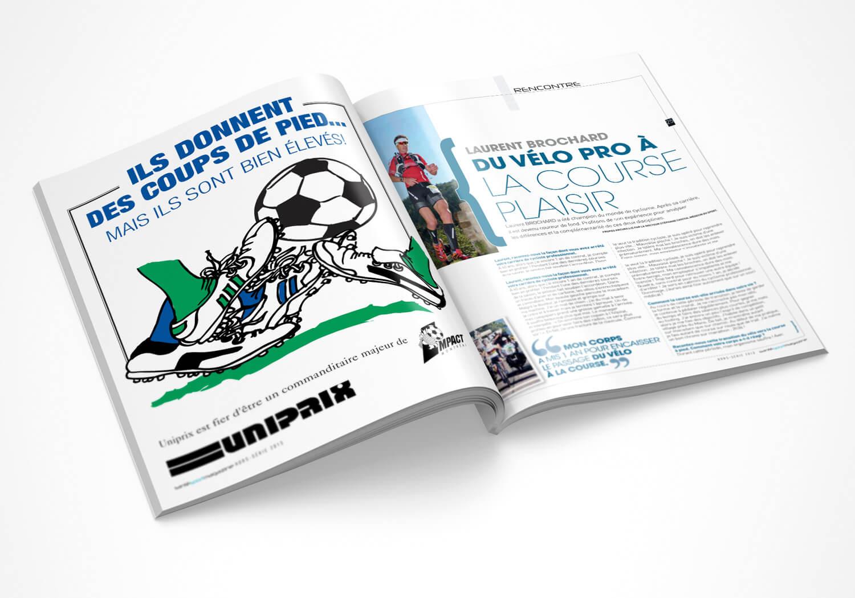 publicité magasine pour l'équipe de soccer L'Impact de Montréal.